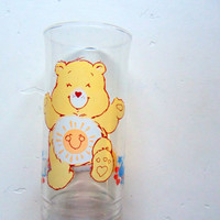 Vintage Funshine Care Bear Drinking Glass 1983