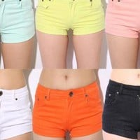 Candy Colored Elastic Hot Shorts