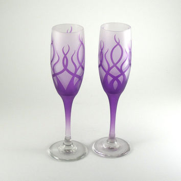 SALE - JANUARY DELIVERY - Strands Champagne Flutes - Frosted and Painted Glassware - Custom Wedding Glass Stemware
