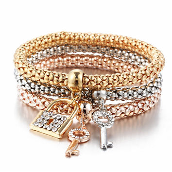 2017 Gifts 3Pcs Gold Color Heart Charm Elastic Bracelets For Women Pulseras Bracelet Cute Multilayer Bangles pulseira feminina