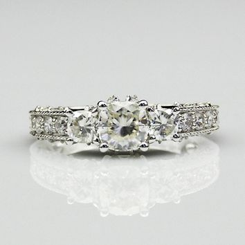 1.1ct Cushion Cut Esdomera Moissanite 3 Stone Antique Filigree Accents 14k White Gold Wdding Engagament Ring (CFR0629-MS1.1CT)