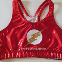 Flash Man Super Hero Metallic Sports Bra by SparkleBowsCheer