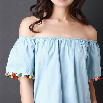 Pom Pom Chambray Bardot Top