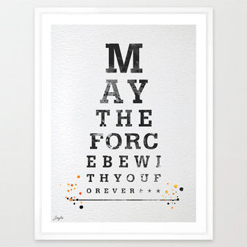 Eye chart,Star wars Watercolor illustration Art Print,Typography print,Movie quote poster,Home Decor,Birthday Gift,Inspirational art,#148