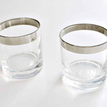 Silver Rimmed Glasses Mid Century Modern Vintage Rocks Drinking Glasses Lot of 2 Barware