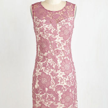 Pastel Mid-length Sleeveless Sheath Going Album and Beyond Dress in Mauve by ModCloth