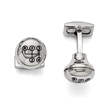 Men's Stainless Steel and Enamel 16mm Stick Shift Knob Cuff Links
