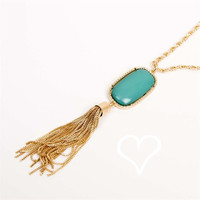 NEW Designer Inspired Oval Tassel Necklace