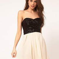 TFNC Dress with Sequin Bandeau & Chiffon Skirt at ASOS