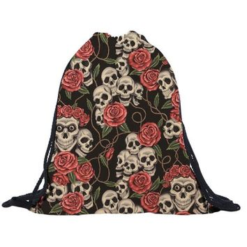 Floral Skull Heads Drawstring Bags Cinch String Backpack Funny Funky Cute Novelty