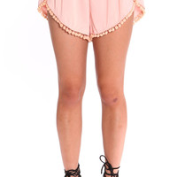 FLIRTY PEACH POM POM SHORTS