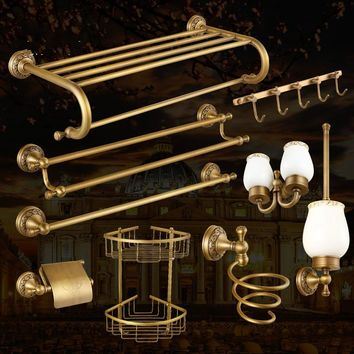 Classical Brass Carved Wall Mounted Bathroom Sets Accessories European Solide Bathroom Accessories Sets  Towel Rack