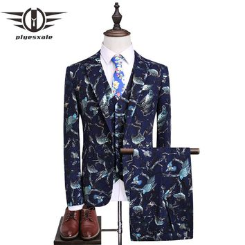 Slim Fit Men Wedding Suits Animal Print 3 Piece Suit Men Navy Blue Prom Suit Stage Wear