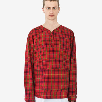 Plaid Baseball Shirt in Red/Navy