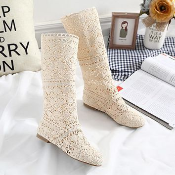 DreamShining New Women Boots Knitted Hollow High Boots Fashion Womans Cool Botas Mesh