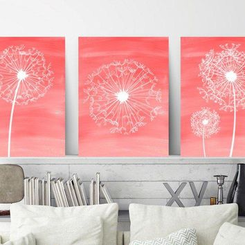 DANDELION Wall Art, Coral Bathroom Decor, Baby Girl Nursery Art, Coral Bedroom Wall Decor Canvas or Prints Set of 3, Home Decor Wall Decor
