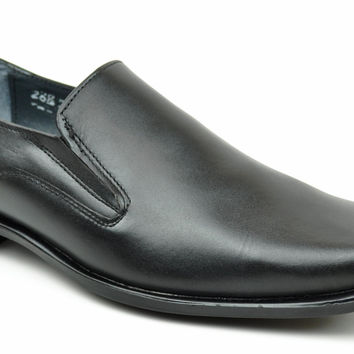 Baronett Men's Dress Slip On Square Toe Genuine All Leather Shoes 7705 Black
