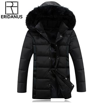 New Men Coats Keep Warm Men Quality Fur Collar Winter Jacket Men Slim Thicken Fur Hooded Outwear Warm