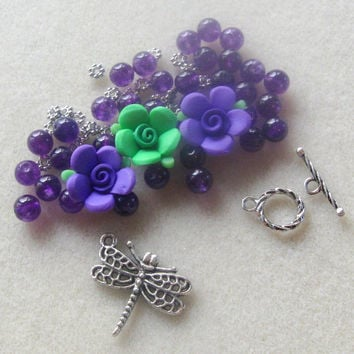 Polymer Clay Flower Beads Purple Jade Pewter Bracelet Beads Kit DIY Jewelry Kit