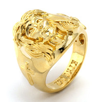 King Ice 14K Gold Jesus Ring