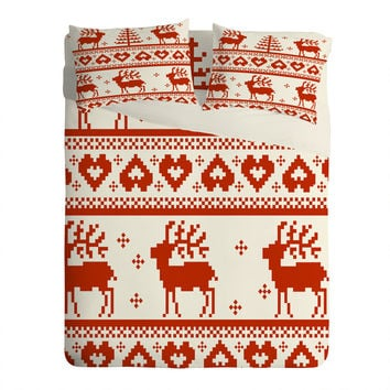 Natt Knitting Red Deer Sheet Set Lightweight