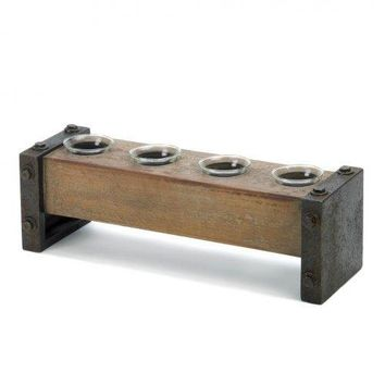 Medieval Wooden Tealight Candle Holder (pack of 1 EA)