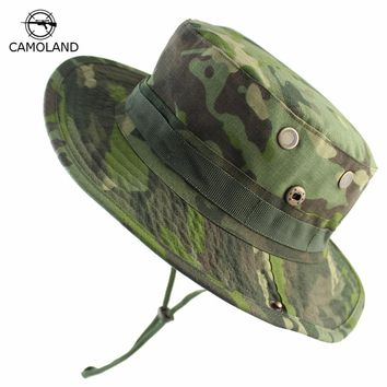 2018 Men Bucket Hat Outdoor Fishing Boonie Hat UV Protection Panama Hat Hiking Sombrero Army Tactical Camouflage Sun Hat for Men