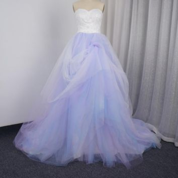 Blue Purple Pink Colorful Wedding Dresses Tulle Layers Pearl Beaded Ball Gown Sweetheart