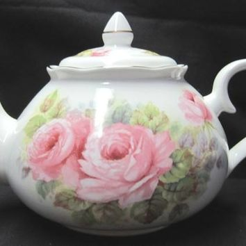 6C China Pink Roses English Bone China Teapot