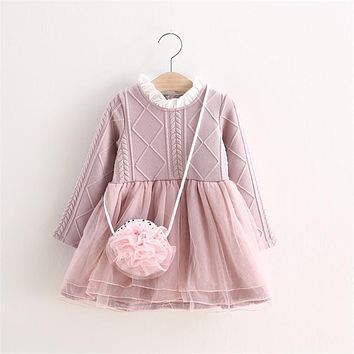 MBBGJOY 2-6years Baby Girls Knitted Dress Winter Autumn Kids Tutu Dresses Long-sleeved Baby Girl Toddler Clothing Knit Mesh