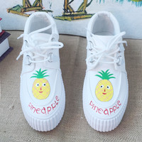 White Pineapple Canvas Shoes