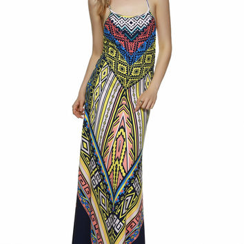 Boho Open Back Side Slit Maxi Dress