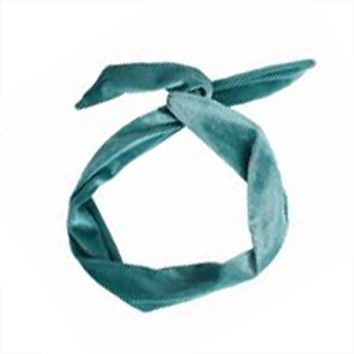 Mermaid Green Wired Velvet Headwrap