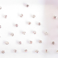 64 Extra Shine Silver Stick On Fake Nose Studs Clear Rhinetones Jewels/Silver Small Fake Nose Stud/Fake Nose Ring Bindi Studs/Costume Jewels