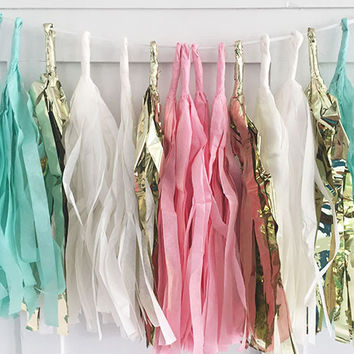 Aqua Pink and Gold Tissue Paper Tassel Pennant