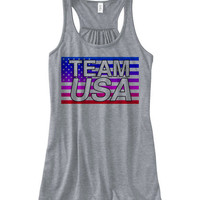 Women's TEAM USA Flowy Tanktop | Fourth of July Shirts | 4th of July Tees Tanks Hoodies and more | American Flag tank top Patriotic Tshirts