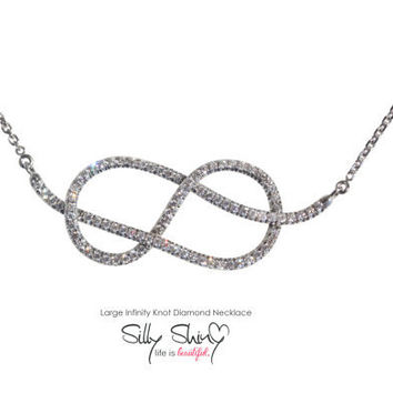 Large Infinity Knot Diamond Necklace 14K Gold