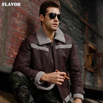 Men's motorcycle bomber Genuine Leather jacket real leather jackets with faux warm coat men