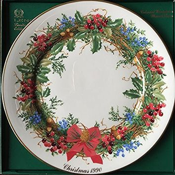 Lenox 1990 Colonial Christmas Wreath Plate, New Jersey, The Tenth Colony