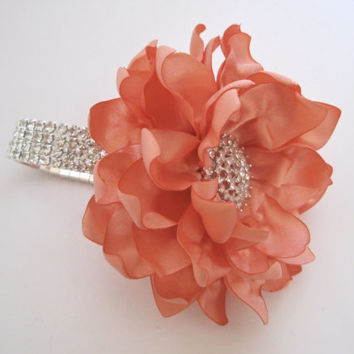Wrist Corsage Peach Satin Flower Rhinestone Bracelet Bride Bridesmaid Mother of the Bride Prom with Rhinestone Accent Custom Order