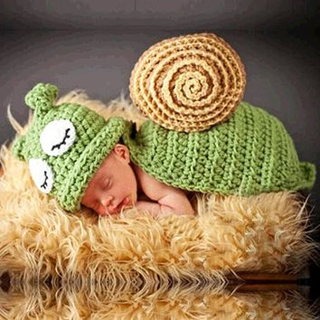 Baby Hat Caps Baby Newborn Photography Props Snail Hand Crochet Knit Beanie Children's Hats with Cape Snail Costume