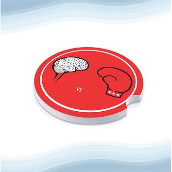Fist Against Brain Car Cup Holder Ceramic Coasters (Set of 2)