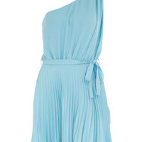 Aqua pleat one shoulder dress
