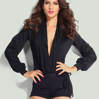 Black V-Neck Long Sleeve Drawstring Romper