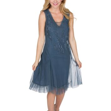 Nataya AL-254 Tara 1920s Flapper Style Party Dress in Sapphire