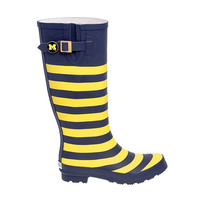 Ladies Shoes Lillybee University of Michigan Striped Rain Boots