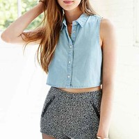 Glamorous Sleeveless Chambray Cropped Top- Vintage Denim Light
