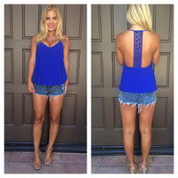 Star-Crossed Lovers Crochet T-Back Tank - ROYAL BLUE