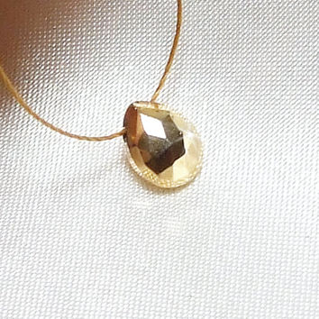 24k Gold Plated Pyrite Teardrop Briolette Necklace, Fools Gold, Minimalist Jewelry, Wabi-Sabi Pendant, Zen Gemstone, Cord Necklace, Organic