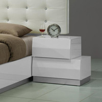 J&M Furniture Milan Right Facing Nightstand in White Lacquer